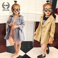 女童风衣外套春装2018新款韩版休闲童装中长款双排扣儿童大衣潮