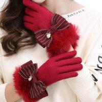 韩版触摸屏手套女学生可爱加绒加厚保暖户外骑车五指手套
