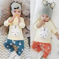婴儿春秋季套装 新生儿男女宝宝上衣肩扣+裤子0-3-6-12个月衣服弹