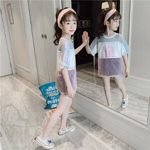 女童短袖t恤 2019夏装新款儿童装  半袖洋气  中大童夏季宽松女孩上  衣网纱T恤