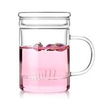 1耐�岵AП� ���w�^�V透明水杯三件式套杯花茶杯茶具350ML花茶杯泡茶杯果汁杯冷�杯具