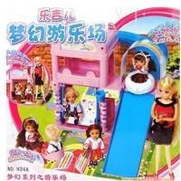乐吉儿 洋布芭比娃娃 梦幻游乐场跷跷板滑滑梯女孩过家家玩具 六一儿童节 生日礼物 给宝宝美好的童年H24A