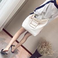 日韩简约帆布单肩包女包女士包包金属提手帆布时尚简约斜挎包包 白色