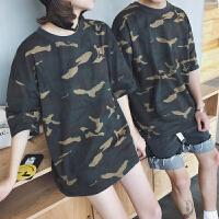 情侣装夏季新款迷彩短袖T恤男日系简约休闲五分袖学生潮流中袖