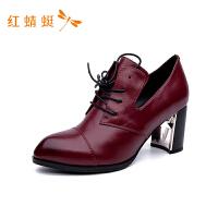 【专柜正品】红蜻蜓尖头纯色粗高跟系带女单鞋