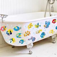 墙饰卫生间 卫生间淋浴室墙壁瓷砖玻璃防水装饰可移除贴画儿童房墙贴纸卡通鱼 A款 WZ5006 大