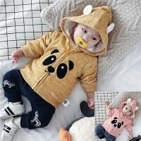 婴儿卫衣拉链衫双层深秋连帽外出服新生儿0-3-6-9-12个月春秋衣服