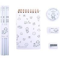 得力 68884 卡通萌系主题文具套装 线圈本+铅笔+橡皮+卷笔刀+和纸胶带 A款