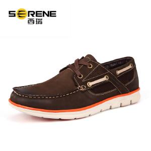 西瑞男士休闲鞋潮流帆船鞋英伦系带男鞋低帮大码4546皮鞋秋季新款6266