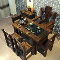 老船木茶桌椅�M合新中式��木家具�k公室功夫茶�_小型客�d��_茶�� 整�b