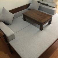 罗汉床实木老榆木现代中式多功能沙发床推拉罗汉床榻伸缩家具定制 2米