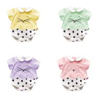 婴儿连体衣服新生儿宝宝春季装0岁1个月6薄短袖三角哈衣