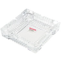 得力9580 办公居家大号玻璃方形烟灰缸180*180mm 茶几摆件
