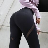 高腰紧身瑜伽裤女弹力速干健身裤收腹提臀网纱运动训练长裤秋