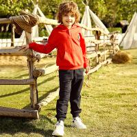 【2件3折价:98】小猪班纳儿童套装2020春季男童连帽长袖卫衣男孩纯棉针织长裤裤子