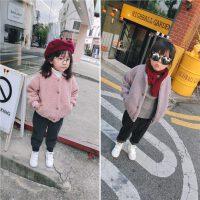 2017秋冬新款童装女童羊羔绒外套小童宝宝加绒加厚夹克上衣