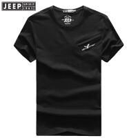JEEP吉普短袖t恤男夏季新品休闲男装圆领纯色基础款打底T恤衫