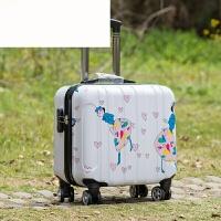 18寸商务拉杆箱女万向轮迷你小型旅行箱包男横款登机出差行李箱17 白色 磨砂 17寸普通夹层款无