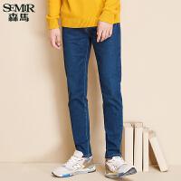 森马牛仔裤 冬装新款 男士简约中低腰弹力基础款牛仔小脚长裤
