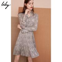 Lily春新款女装复古格纹立领系带收腰连衣裙118320C7632