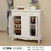 欧式鞋柜玄关家用经济型实木门口鞋柜白色简约现代门厅柜客厅鞋柜 组装