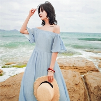 21一字肩连衣裙长裙雪纺淡蓝色露肩漏肩中长款海边度假风沙滩裙潮