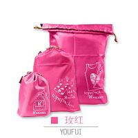 优芬旅行收纳袋套装 束口防水衣物收纳袋子三件套 多色可选 玫红