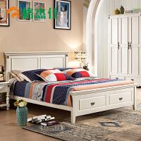 美式��木床1.8米主�P婚床�p人床出租房���床��s公代主床 +2柜+9分�^乳�z加棉薰衣草竹席床� 