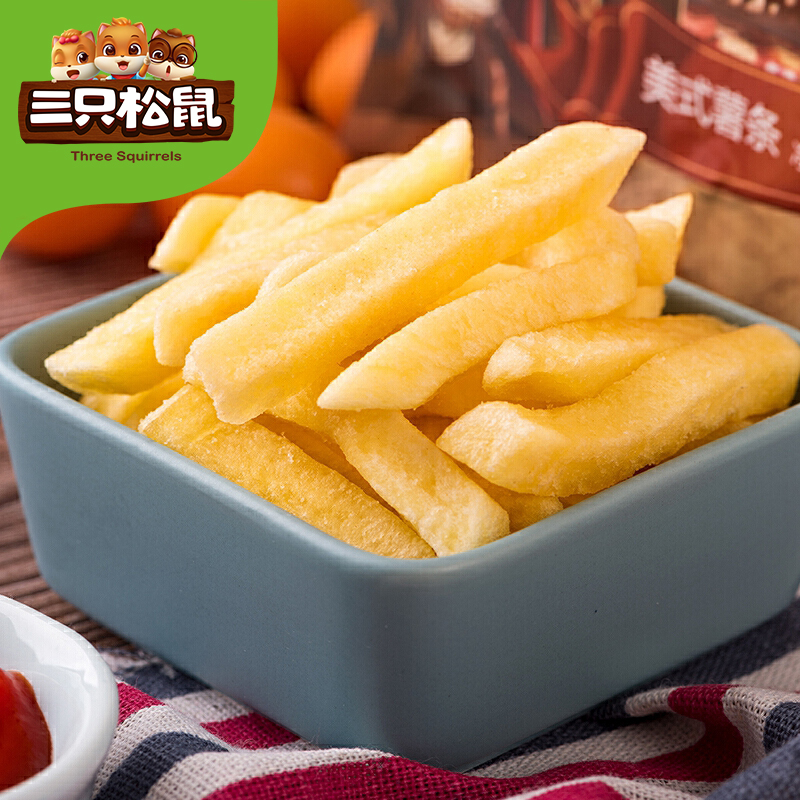 【三只松鼠_小贱美式薯条75gx3】膨化食品美式薯条原味理想早餐节,万份爆品开抢!