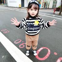 冬季双层加绒高领翻领套头儿童条纹卡通卫衣宝宝小童装