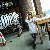 女童打底衫加厚冬新款长袖T恤 字母开叉中长款韩版童装t恤潮
