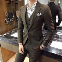 西服套装男士修身西装三件套韩版休闲正装新郎伴郎服结婚西装外套