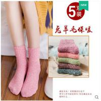 袜子女中筒袜韩版学院风冬季加绒加厚毛巾保暖高长筒秋冬款羊毛袜