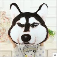 个性创意3D大狗头抱枕哈士奇毛绒玩具公仔趴狗枕头生日礼物女生