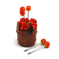 木桶樱桃水果叉