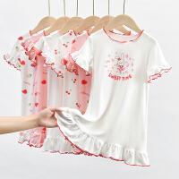 夏装女童家居服可爱宝宝印花薄款裙子儿童木耳边连衣裙睡裙