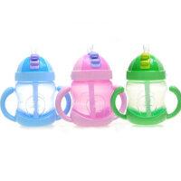 贝儿欣防漏吸管杯 带把手宝宝喝水杯240ml 儿童水杯 PP材质