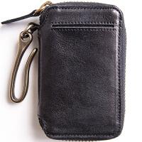 埋不烂 头层牛皮汽车钥匙包男士皮钥匙扣带卡位 可放驾照Q56 黑色(善于接受真皮的不) (请阅读温馨提示)