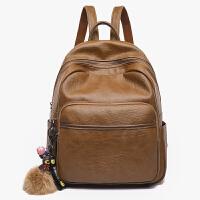 双肩包女新款潮韩版时尚学生书包百搭女包软皮妈咪背包旅行包 复古棕色 软皮材质