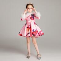 儿童小主持人演出服冬中式女童长袖礼服公主裙加绒花童蓬蓬裙