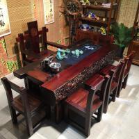 老船木茶桌新中式��木家具船木茶桌椅�M合功夫茶�卓�d茶�_茶�桌 整�b
