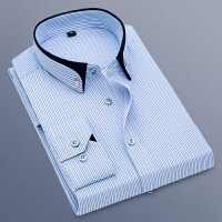 长袖衬衫男士商务休闲条纹衬衣中年职业装工装免烫潮