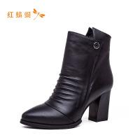红蜻蜓中筒靴女平底靴子新款韩版百搭内增高女鞋女士