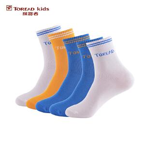 探路者TOREAD品牌童装 户外运动 春秋男童中筒袜(5双包)儿童袜子