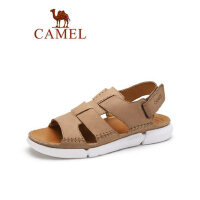 camel骆驼真皮休闲凉鞋 2019夏季新款磨砂皮平跟沙滩凉鞋复古百搭男鞋