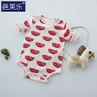 婴儿连体衣服03月包屁衣宝宝三角哈衣棉0岁春装新生儿睡衣