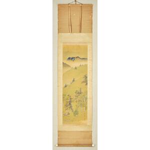 D3197  佚名《青绿山水图》(日本回流,日式装裱)