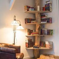 复古树形小书架客厅置物架实木书柜创意墙上转角简易墙角层架落地 定制订金