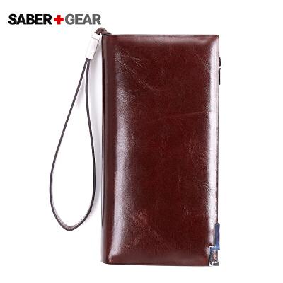 SABER+GEAR军刀2色男士真皮长款钱包商务休闲卡包钱夹BP7405