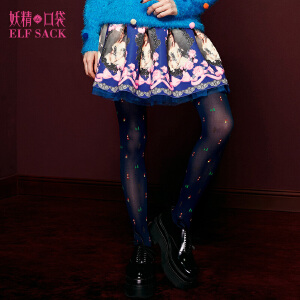 妖精的口袋八卦街区春秋装欧美印花甜美A字裙百搭半身裙女短裙